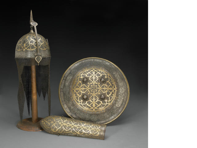 A fine suite of gold and silver-damascened Persian armor