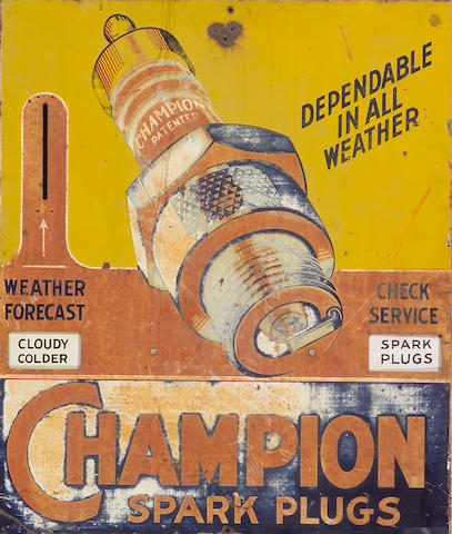 A Champion Sparkplugs garage weather forcast sign,