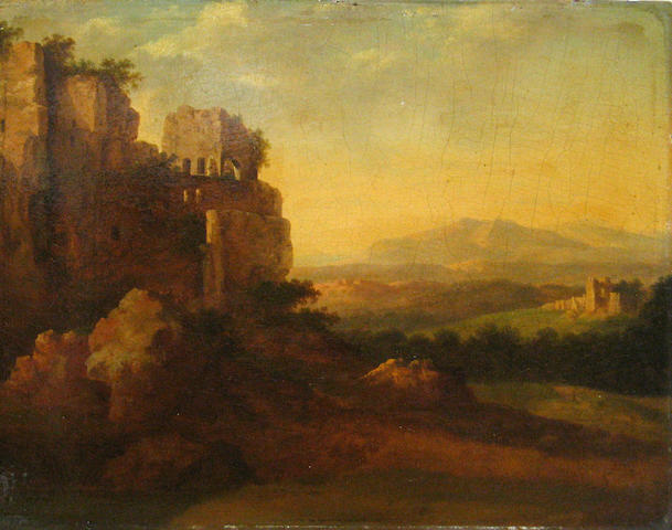 Manner of Cornelis van Poelenburgh A landscape with ruins on a cliff 9 1/2 x 12 1/4in unframed
