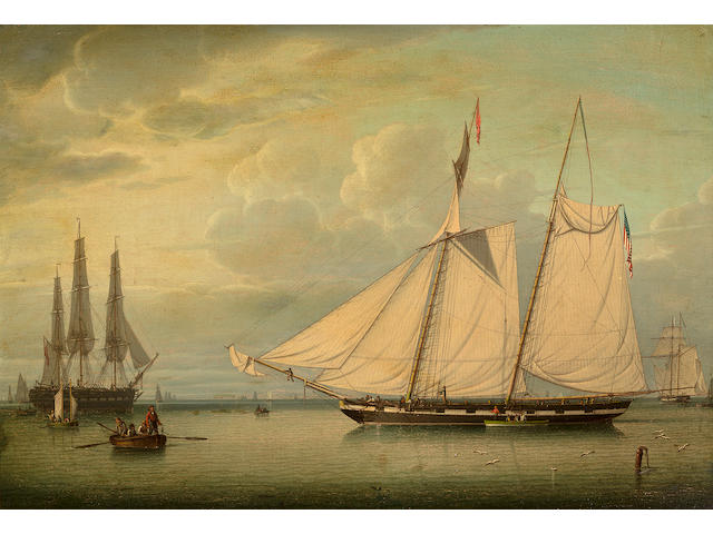 (n/a) Robert Salmon (British, 1775-1845) The American Revenue Schooner  16-1/2 x 24-1/4 in. (41.9 x 61.6 cm.)