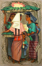 (n/a) Philip Herschel Paradise (American, 1905-1997) Flores (Women of Guatemala); Sunday Morning (a pair) each 36 x 24in