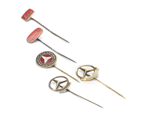 Five motoring stick pins,