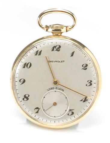 A 14 karat gold commemorative Chevrolet pocket watch, 1960s,