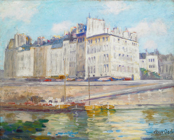 (n/a) Alson Skinner Clark (1876-1949) Ile Saint Louis, Paris 13 x 16in