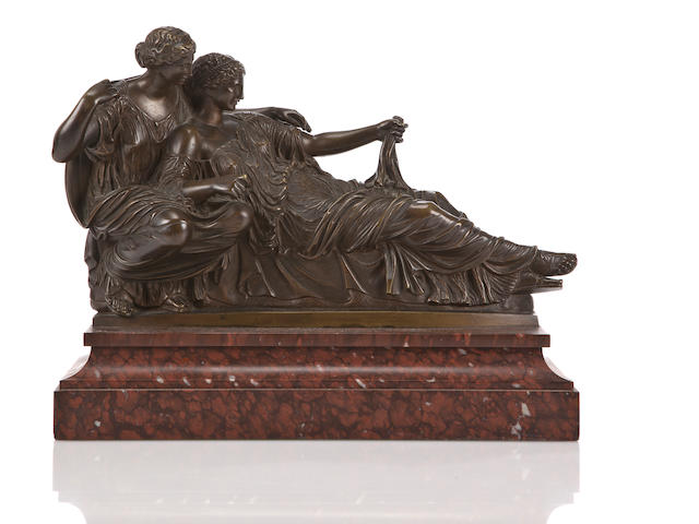 A French patinated bronze group of two women, probably by the F. Barbedienne foundry<br>late 19th century