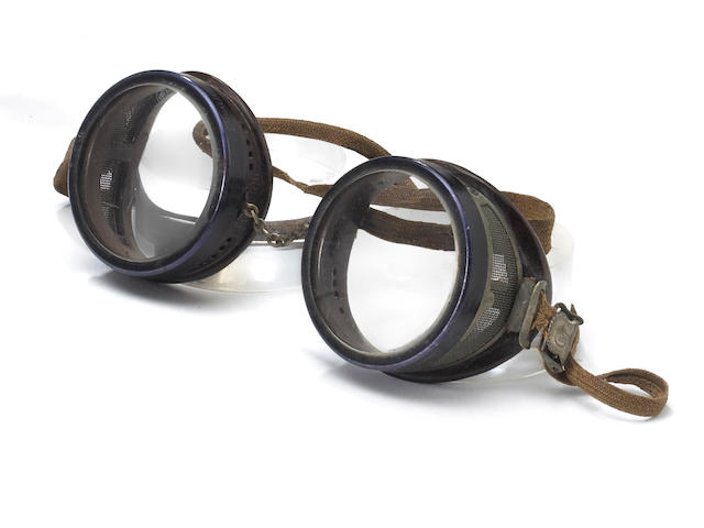 A rare pair of American Optical Duralite driver's goggles, circa 1915,