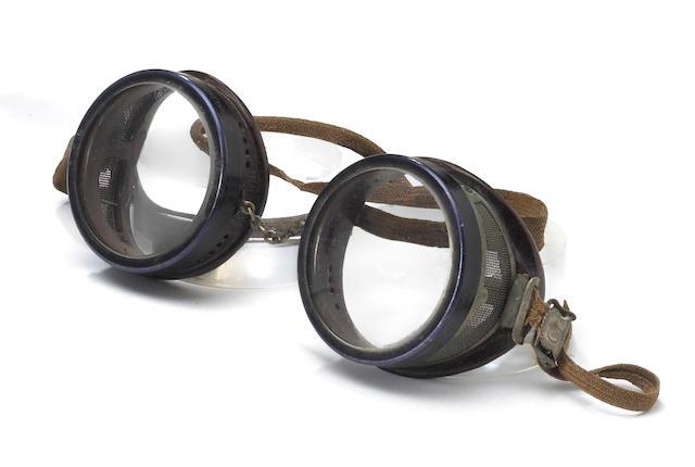 A rare pair of American Optical Duralite driver's goggles, circa 1915,