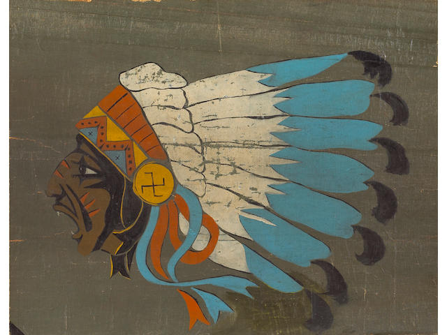 A rare and historic fuselage insignia panel from a Spad VII flown by the Lafayette Escadrille