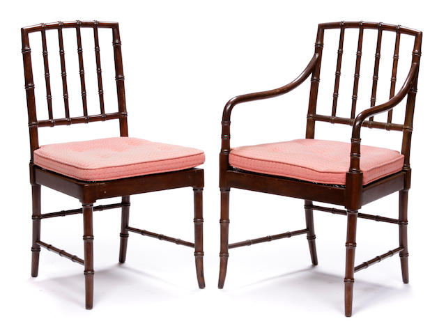 A set of four Regency style faux bamboo dining chairs