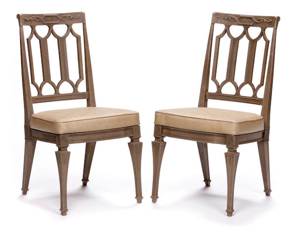 A set of six Neoclassical style faux grained dining chairs