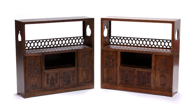 A pair of Chinese hardwood small display cabinets