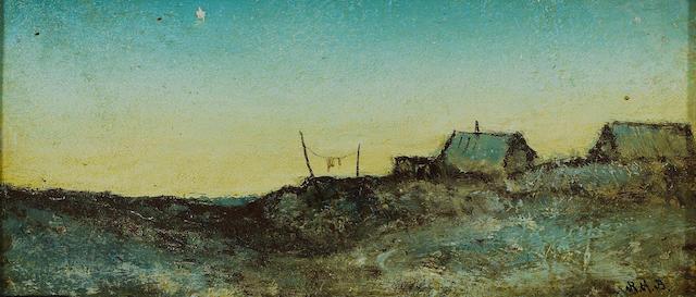 Ralph Albert Blakelock (American, 1847-1919) Upper New York landscape with shanties 4 x 8 1/2in