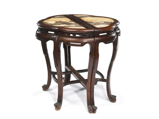 A two-section hardwood and marble demilune table Late Qing/Republic period
