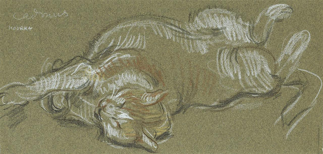 Paul Cadmus (American, 1904-1999) Balachine's Mourka, circa 1965 5 3/4 x 12in