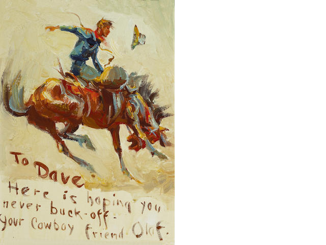 (n/a) Olaf Carl Wieghorst (American, 1899-1988) Cowboy on bucking bronco sight: 14 3/4 x 10 1/2in