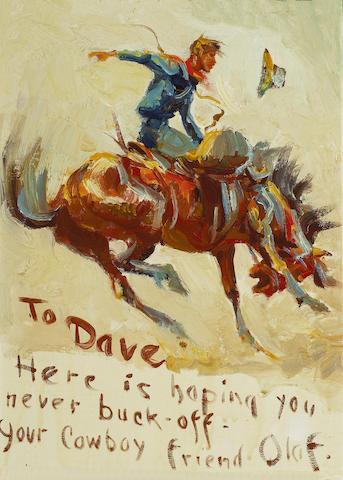 (n/a) Olaf Carl Wieghorst (American, 1899-1988) Cowboy on bucking bronco sight: 14 3/4 x 10 1/2in