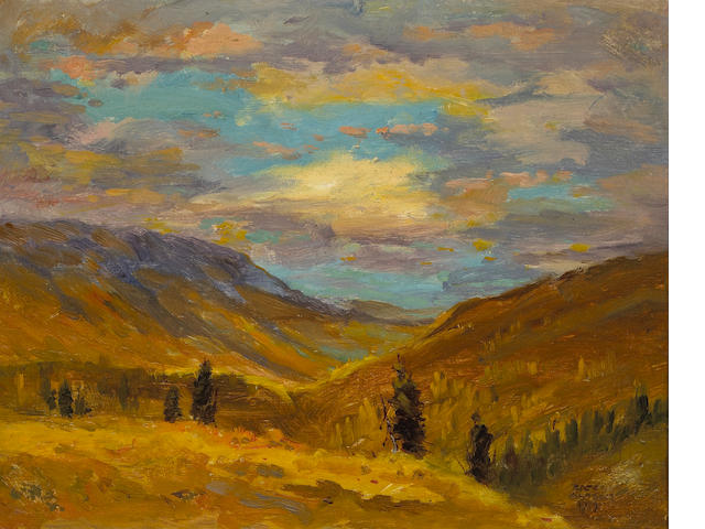 (n/a) Eustace Paul Ziegler (American, 1881-1969) Sunset down the valley, Nugget Creek, Alaska, 1919 8 1/4 x 10 3/4in