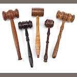 A collection of ten wooden gavels<br> 19th and 20th centuries 12 x 4-1/2 in. (30.4 x 11.4 cm.) the largest. 10