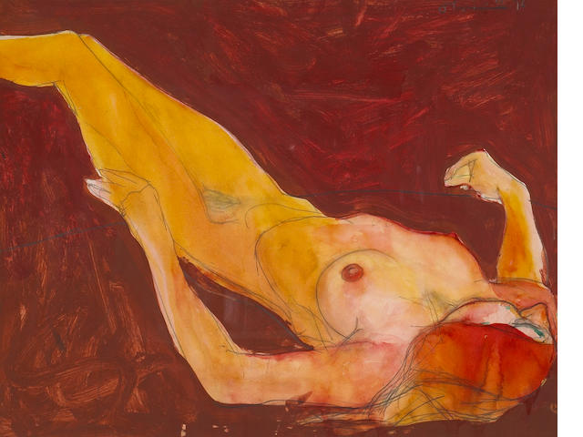 Nathan Oliveira (American, born 1928) Reclining Woman, 1966/76 15 x 18 3/4in