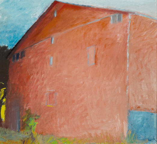 Wolf Kahn (American, born 1927) The red barn 48 x 52in