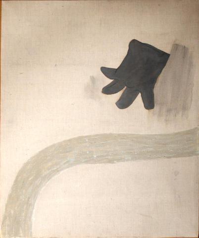 Prunella Clough (British, 1919-1999) Landscape with glove, 1981 36 x 28in