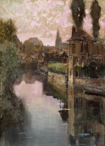 (n/a) Francis Hopkinson Smith (American, 1838-1915) View of Chartres in the gloaming 28 x 20 3/4in