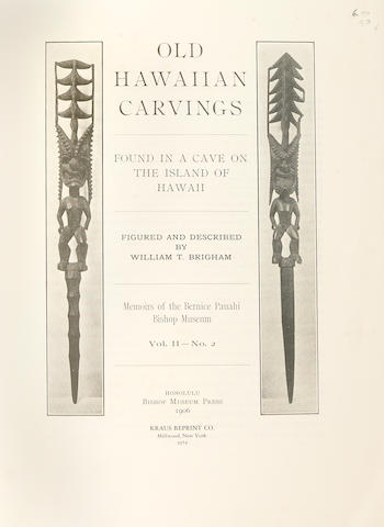 Memoirs of the Bernice Pauahi Bishop Museum,<br>including; Hawaiian Mats and Basket Weaving; Hawaiian Feather Work; Stone Implements of the Ancient Hawaiians; Old Hawaiian Carvings and the Ancient Hawaiian House500