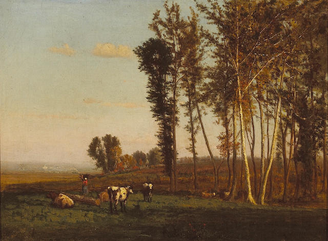 George Inness (American, 1825-1894) Landscape with cattle grazing, 1860 12 1/2 x 16 1/2in