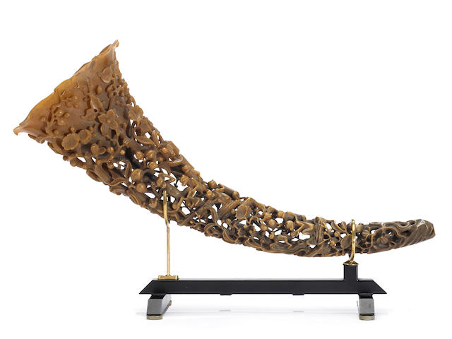 A  well-carved full tip rhinoceros horn 18th/19th Century