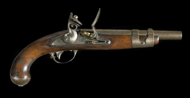 A U.S. Model 1816 flintlock martial pistol by Simeon North