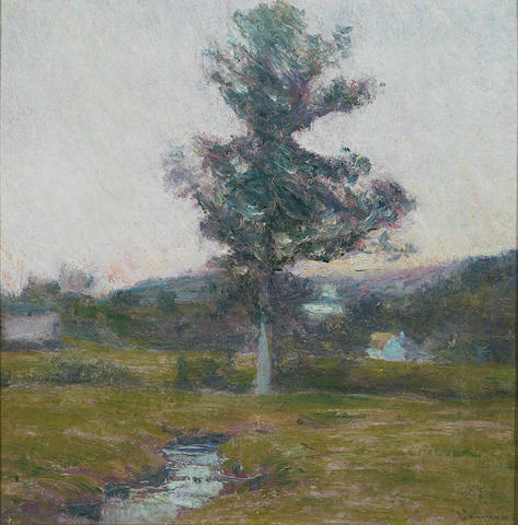 Robert Vonnoh, Connecticut Landscape, oil on canvas, 14 x 14 inches