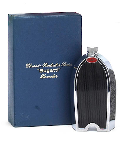 A Bugatti radiator decanter by Ruddspeed, British, 1960s,