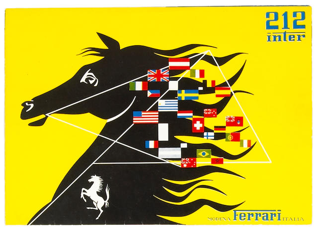 An original Ferrari 212 Inter sales brochure,