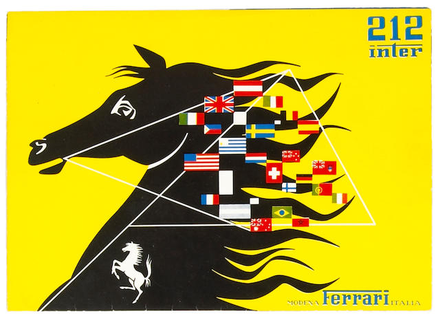 An original Ferrari 212 Inter sales brochure,