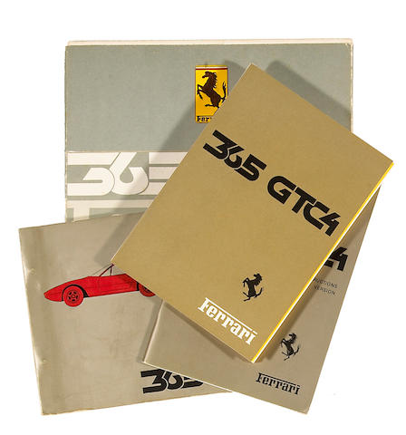 A good selection of original Ferrari 365 GTC4 literature,