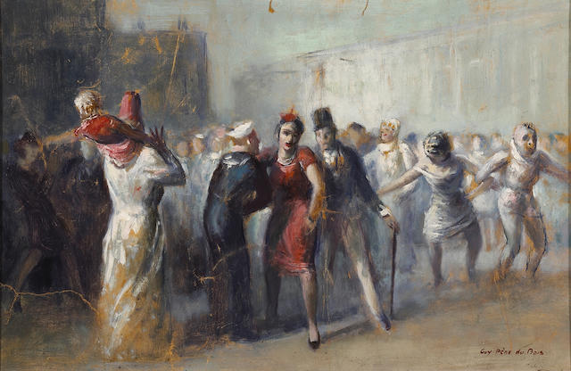Guy Pène Du Bois (American, 1884-1958) Mardi Gras 14 1/2 x 22in