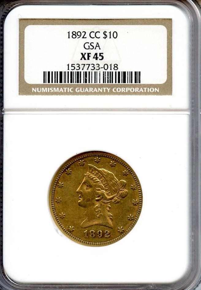 1892-CC $10 XF45 NGC