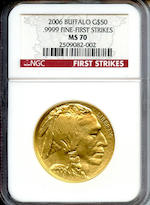 2006 $50 Gold Buffalo MS70 First Strike NGC