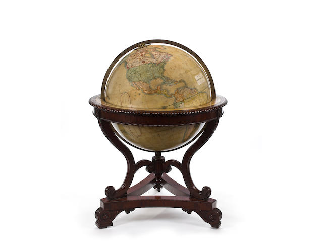 A Rare and Important 36-inch Terrestrial Library Globe  circa 1849 62 x 50 in. (157.4 x 127 cm.) height x overall diameter.