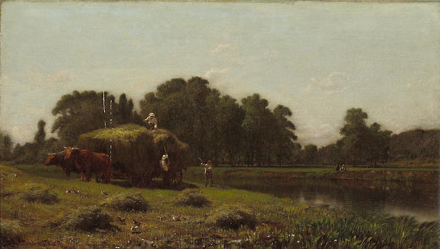 Aaron Draper Shattuck (American, 1832-1928) Haying time 12 x 20 1/4in