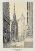 (n/a) Therese Darche (American, 20th century) Washington Square Arch, Manhattan Municiple Building, St. Patrick's Cathedral, A view of Wall Street, A view of the New York Life, and Empire State Building sight 1, 2 approx. 19 1/2 x 14 1/2in; 3, 4, 5 approx. 18 1/2 x 12in