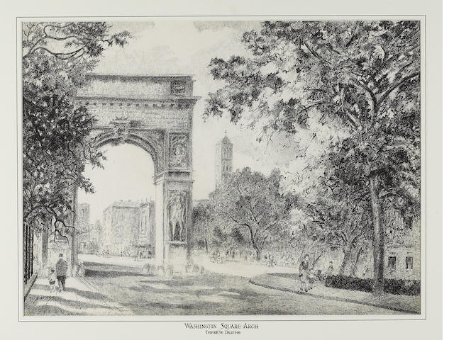 Therese Darche, Washington Square Arch and 4 other works (5), ink/paper