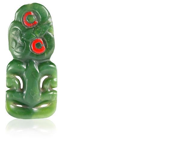 Maori Nephrite Human Form Pendant, hei tiki, New Zealand