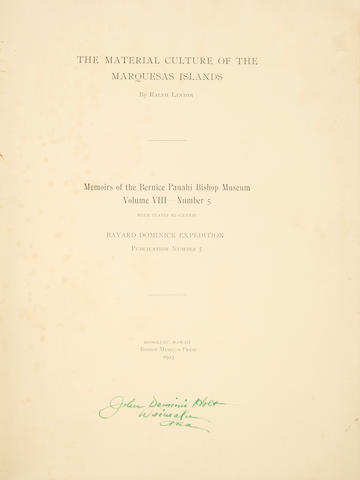 "Memoirs of the Bernice Pauahi Bishop Museum, ""The Material Culture of the Marquesas"""