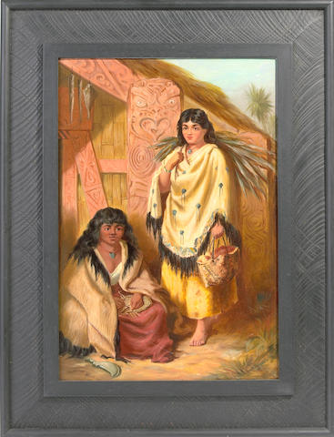 Attributed to Thomas Selby Cousins (1840-1897) Untitled (Maori girls outside a meeting house)