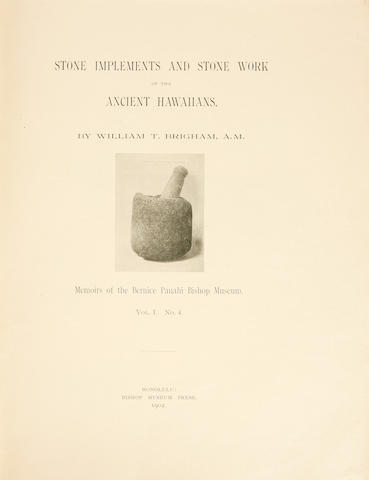 "Memoirs of the Bernice Pauahi Bishop Museum, ""Ancient Hawaiian Stone Implements"""