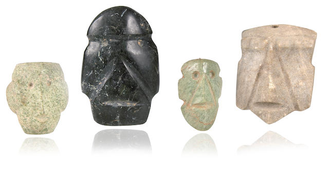 Group of Four Mezcala Stone Masks,<br>Late Preclassic, ca. 300-100 B.C.