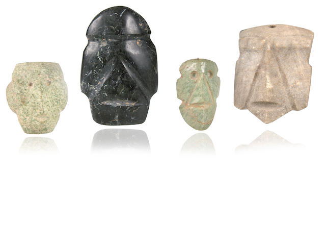 Group of Four Mezcala Stone Masks,<br>Late Preclassic, ca. 300-100 B.C.