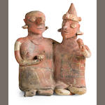 Nayarit Seated Joined Couple, Ixtlàn Polychrome Style,<br>Protoclassic, ca. 100 B.C. - A.D. 250