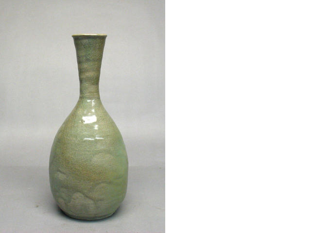 A celadon glazed  stoneware bottle  Goryeo Dynasty, 12th/13th Century